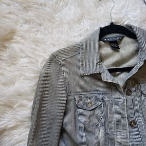 BACCINI RAILROAD STRIPED DENIM JACKET XS